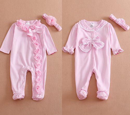 346511b394de 2018 Spring Fall Pink Rompers Newborn Onesies Flower Long Sleeve ...