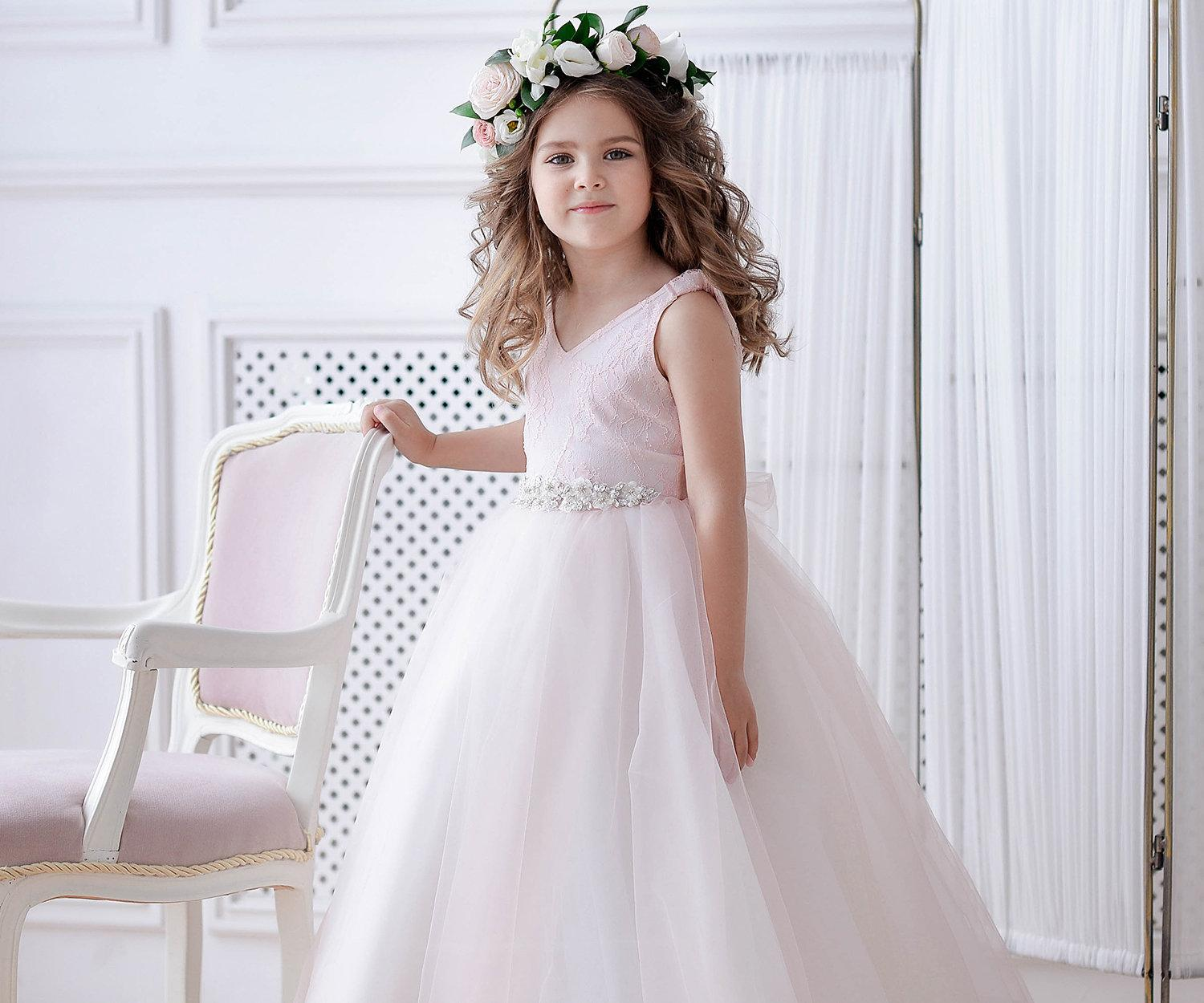 b01094c12fc White Blush Flower Girl Dress Tulle Pink Bridesmaid Baby Little Girl  Special Occasion Tutu Wedding Toddler Formal Occasion Party Dresses Toddler Flower  Girl ...