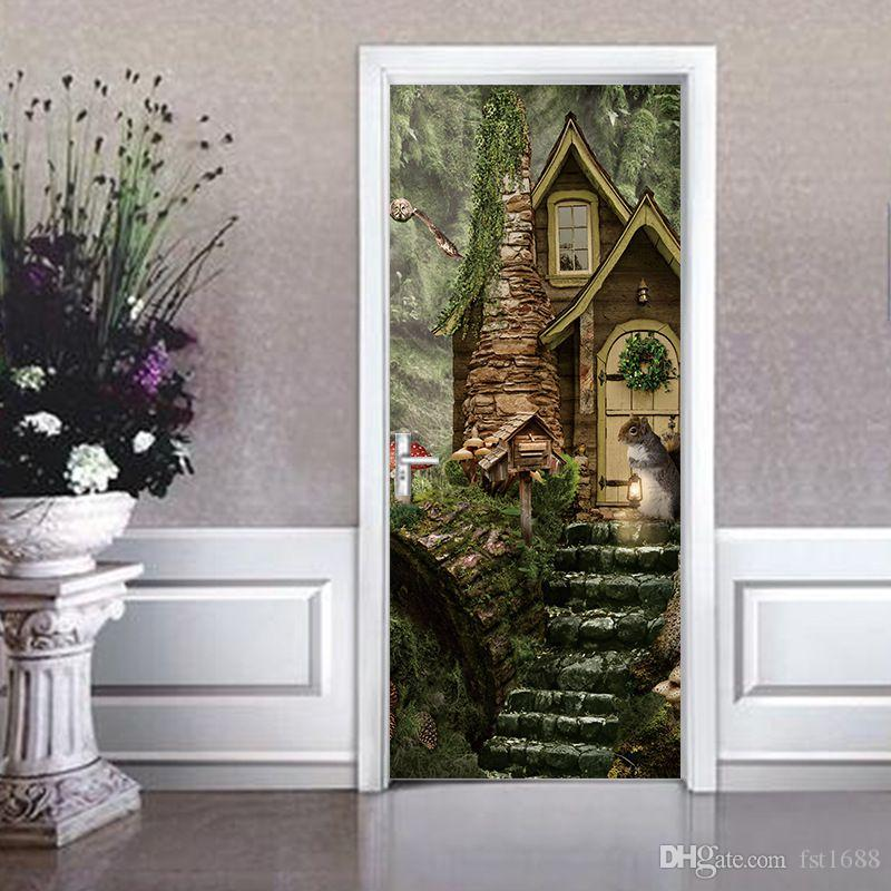 3D Vivid Squirrel Decorative Pattern Door Sticker Fairy Tale World Wall Decals Latest Forest Mural Waterproof Bedroom Home Decor Poster