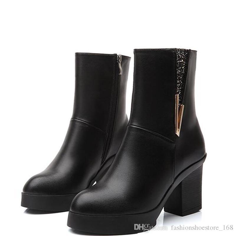 Großhandel Frauen Winter Schuhe Frauen Stiefeletten High Heels Weibliche  Schnee Stiefel Frau Seitlichem Reißverschluss Herbst 6 Cm Dicke Block Ferse  Stiefel ... 932427b0cf
