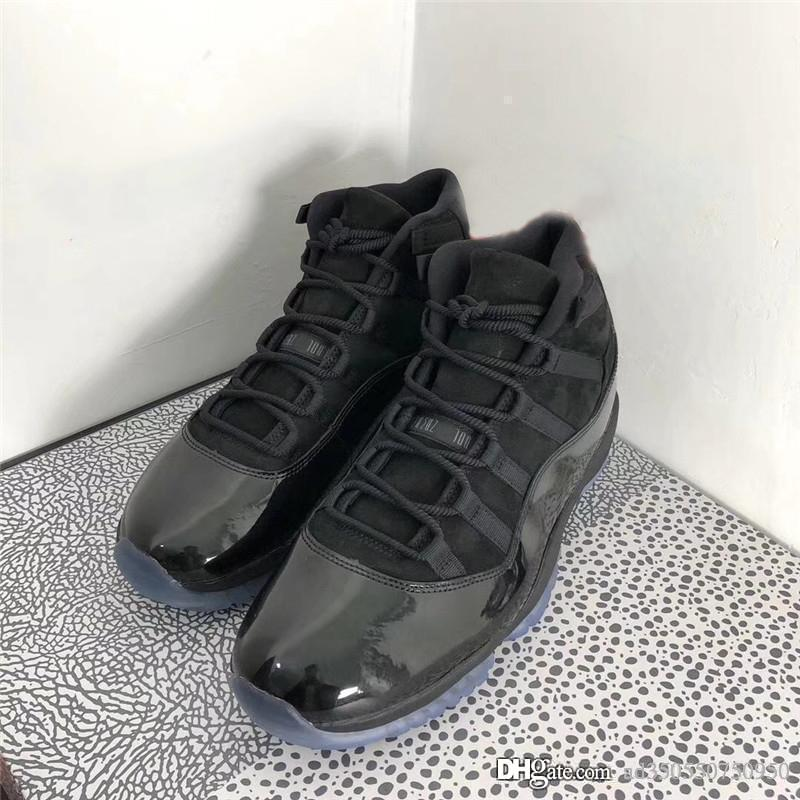 543edb63cdff 2018 Release Cap And Gown 11 Prom Night Blackout 11S Basketball Shoes  Sneakers For Men Authentic Real Carbon Fiber With Box 378037-005 All Black  Basketball ...