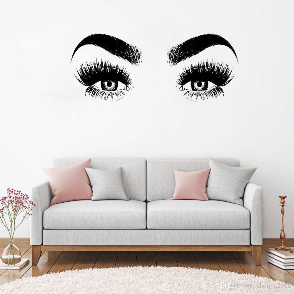 Envío gratisNuevas llegadas Eye Eyelashes Vinilos decorativos Vinilo para el hogar Decoración de pared Pestañas grandes Papel pintado Diy Etiqueta de la pared removible