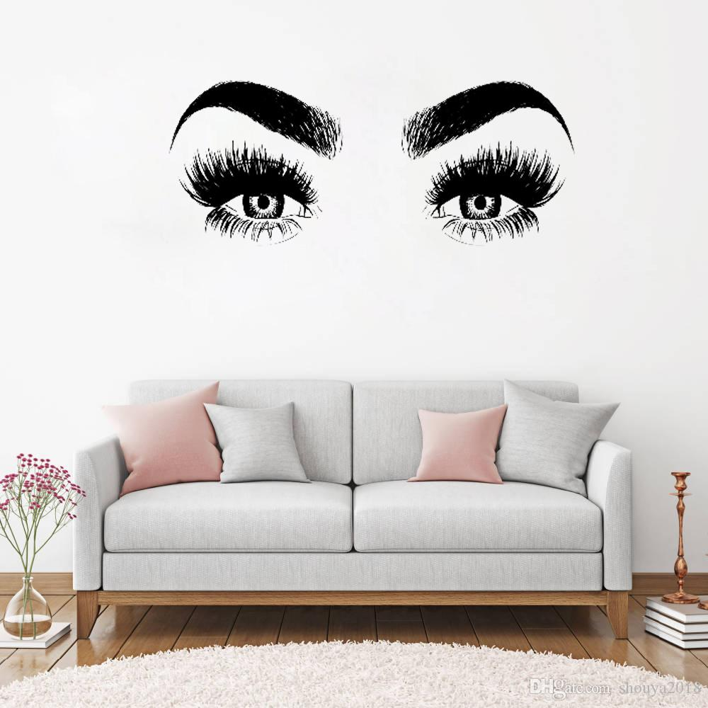 Freie shippingNew Ankunfts-Augen-Wimpern-Wand-Abziehbild-Kunst-Vinylhauptwand-Dekor-große Wimpern-Augenbraue-Tapete Diy entfernbarer Wand-Aufkleber