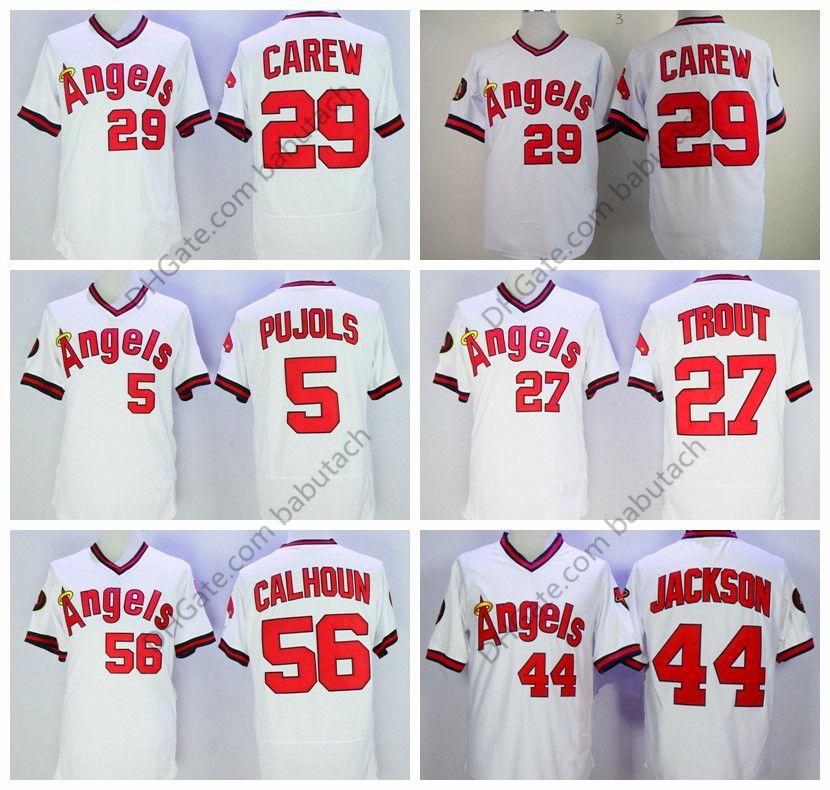 6dcb56f7f 2019 56 Kole Calhoun 44 Reggie Jackson 29 Rod Carew 27 Mike Trout 5 Albert  Pujols White Baseball Jerseys Stitched Retro From Babutch