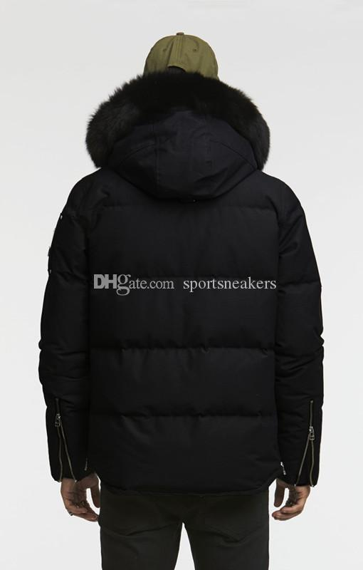 Mens cold winter down coats 3/4 3Q Jacket hooded with white or black fox furs collar