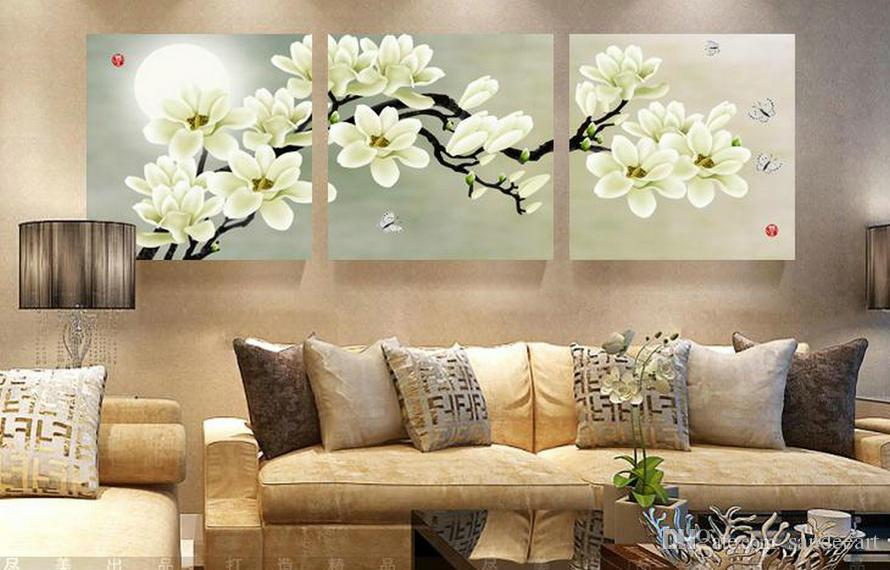 Framed Unframed Large Wall Art 3 Pieces Set Modern Picture White Magnolia Abstract Oil Painting Canvas Pictures For Living Room Bedroom Deco