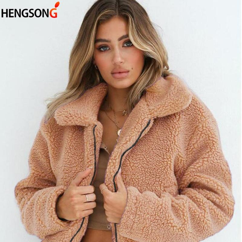 51728e9d1f2 Elegant Faux Fur Coat 2018 Autumn Winter Long Sleeve Women Warm Soft Zipper  Fur Jacket Female Plush Overcoat Casual Outerwear Jackets Online Wool Jacket  ...