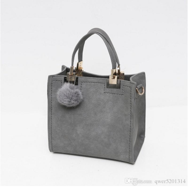 Frauen Marke Top Griff Taschen Leder Mode Handtaschen große solide Einkaufstasche mit Quaste Fur Ball Schultertasche Messenger Bags