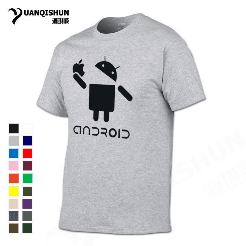 1c98b2571e1f0 Großhandel YUANQISHUN Lustige Kreative T Shirt Android Roboter Essen Apfel  Humor T Shirt 2018 Sommer Straße Trend T Shirt Casual Männer Top Tees 3XL  Von ...