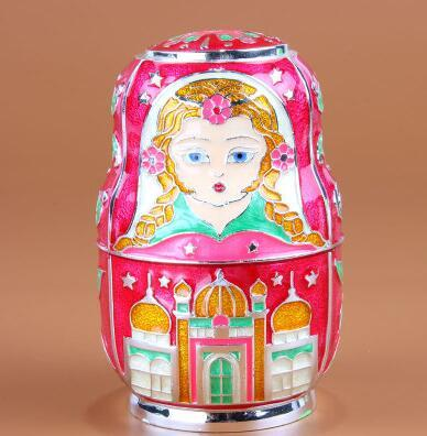 Russian matryoshka automatic toothpick holder alloy metal tooth pick dispenser toothpick plastic for home decoration YQT030D
