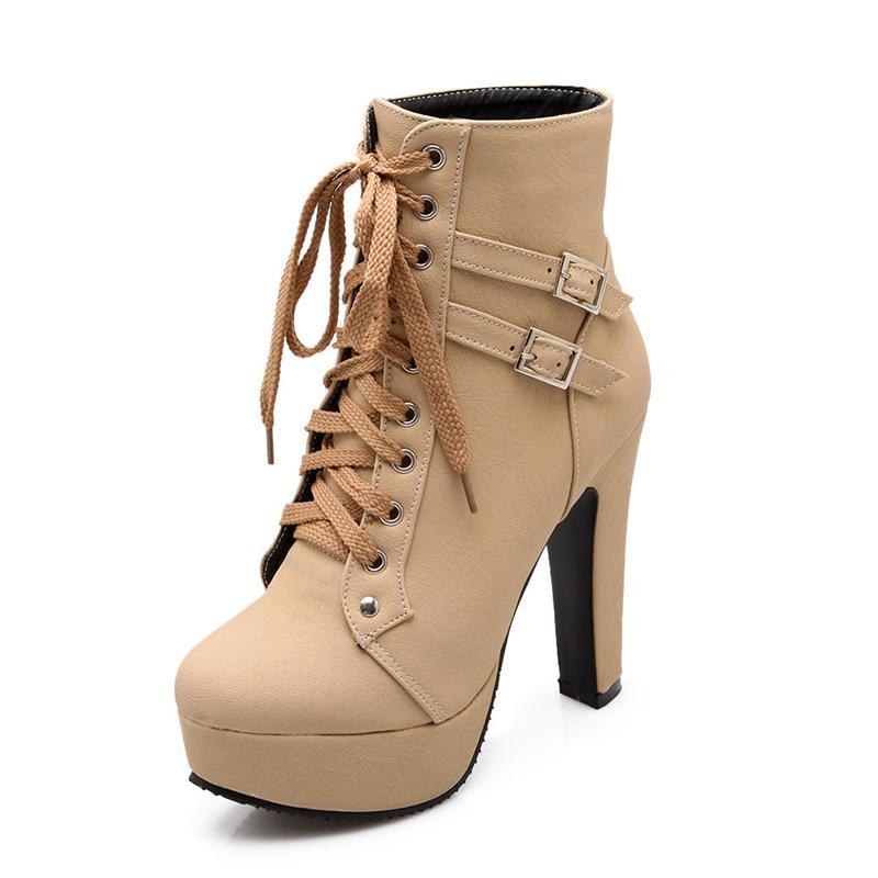 0c0c6cdbf54 Compre Tallas Grandes Botines Para Mujer Plataforma Tacones Altos Mujer  Zapatos Con Cordones Hebilla Corta Bota Casual Para Mujer Calzado A $26.54  Del ...