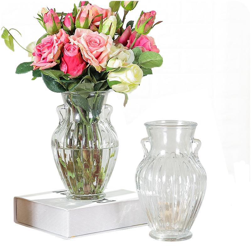European Style Home Office Decor Vases Transparent Doublre Ears