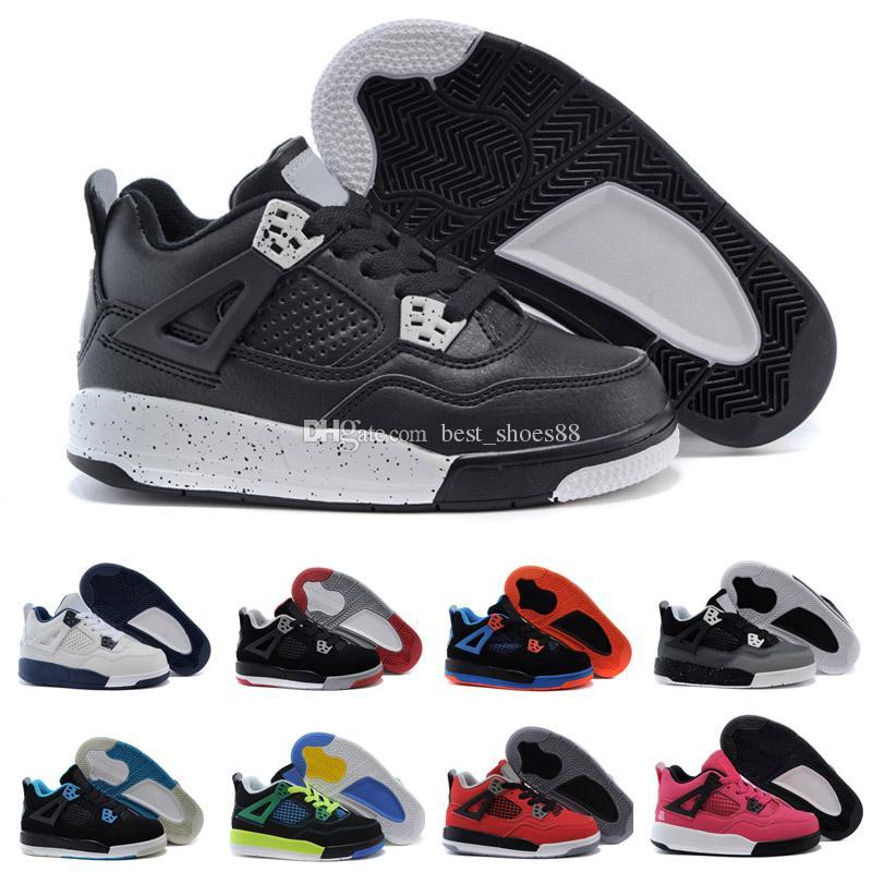 wholesale dealer 0bcd7 0ac1b Acheter Nike Air Jordan 4 13 Retro New Kids Basketball Chaussures 4 Garçons  Bébé Sneakers Rouge Noir Blanc Bleu Enfants Sports IV 4s Formateurs 2017 En  Gros ...