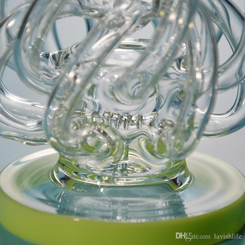 Супер Vortex стекла Бонг Dab Рог Торнадо Циклон Recycler Rigs 12 Ресайклер Труба водопроводная труба 14мм Совместные нефтяных вышек Bongs с пьянящий Bowl