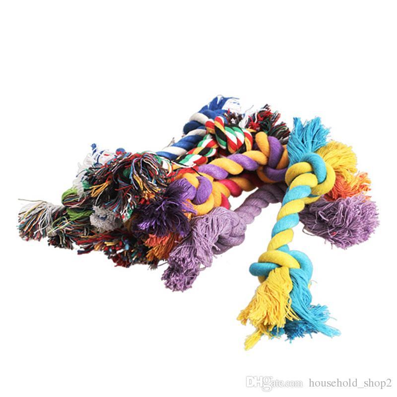 Cão de estimação Mastigar Algodão Brinquedos Nó colorido Durable Trançado Óssea Corda 18 CM Engraçado cão gato brinquedos