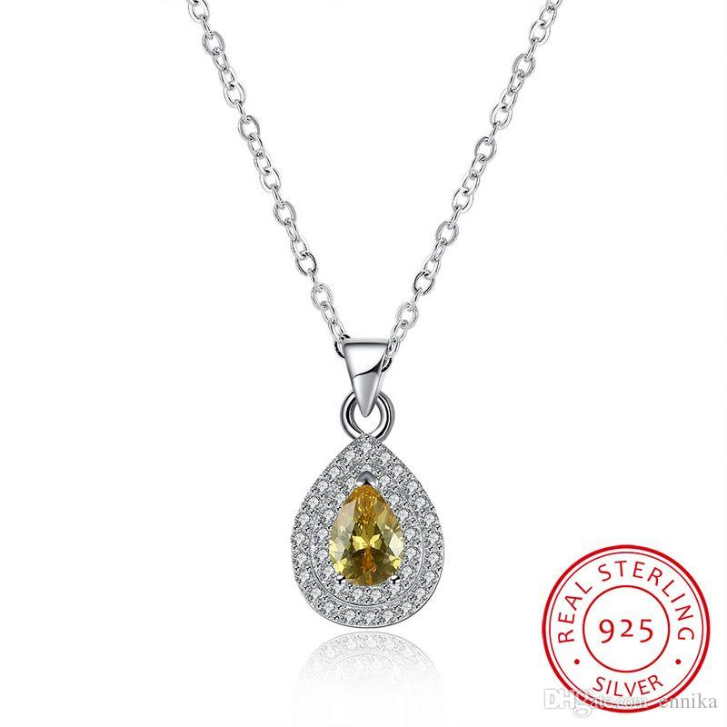 Sterling Silver 925 Necklace Lady Yellow Zircon Jewelry Pure Silver Water Drop Pendant Necklace n120