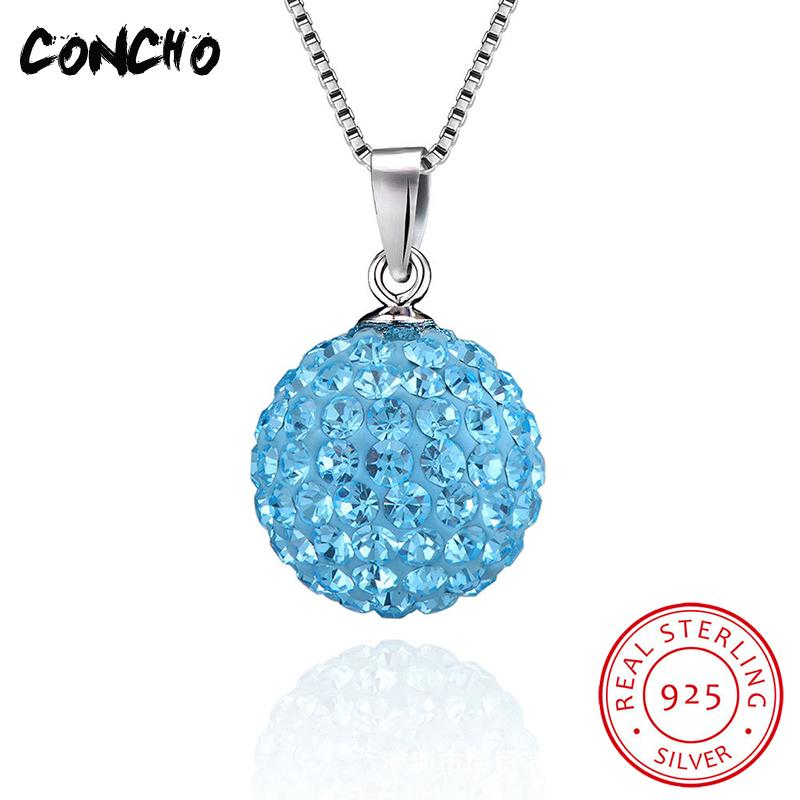 Concho Jewelry 925 Sterling Silver Geometric Crystal Necklace For Women Wedding Gift Multicolor Ball Pendant