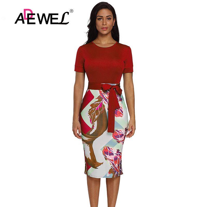 e0601da49 ADEWEL 2018 Casual Printed Office Midi Dress Women Formal Stretch Pencil  Work Dresses Summer Short Sleeve
