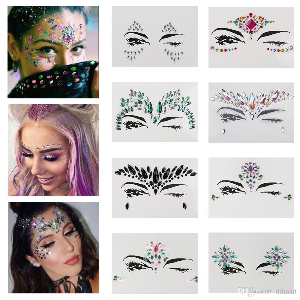 Women Crystal Tattoo Sticker For Festival Party Face Forehead Eyes  Sparkling Gems 3D Jewel Body Art Stage Makeup Decoration Temporary Tattoo  Temp Tattoos ... fb3005781056