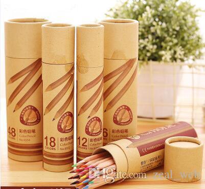 12/18/24/36/48 conjunto de lápis de cor de madeira para escola criança desenho escritório arte fornecimento de lápis de cor presente
