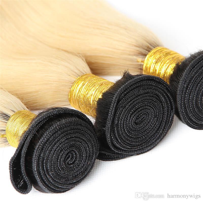 Bakire Brezilyalı Saç Demetleri Ile Ombre Sarışın İnsan Saç Örgüleri Dantel Kapatma Düz Vücut Dalga İnsan Saç Uzantıları