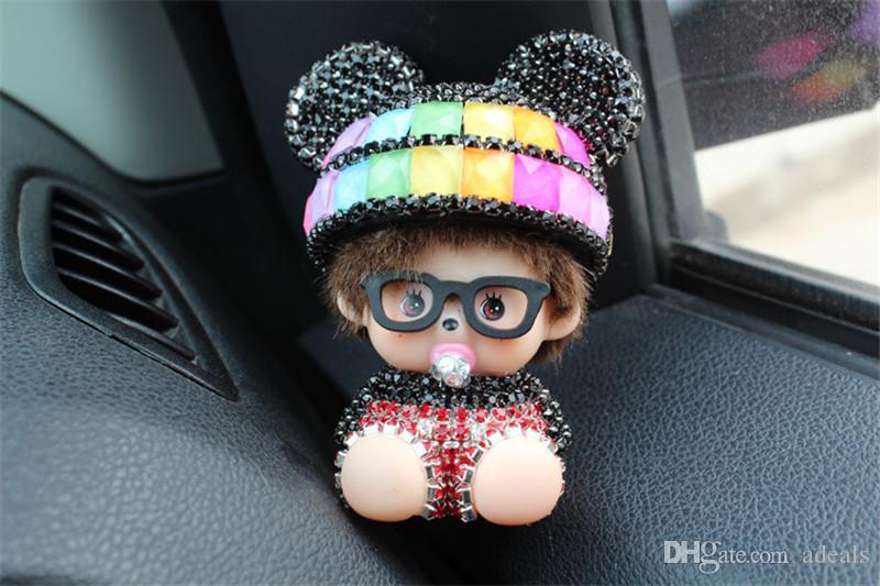 Salida de automóvil perfume clip de diamante aire acondicionado abrazadera de la boca de lujo lindo coche perfume fragancia coche de aire