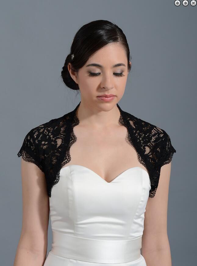 black cap sleeve bridal Wedding Dress Bolero Newest White Wedding Bolero Shrugs jacket Custom Made Bridal Wraps Accessories