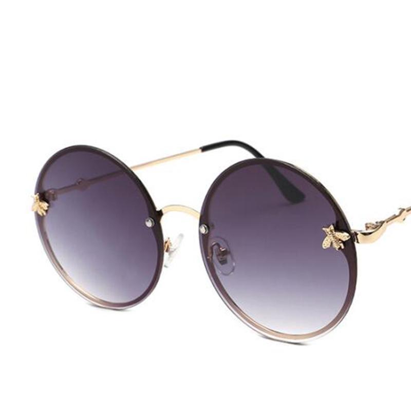 883a496463c Red Glasses Round Sunglasses Vintage Brand Designer Women s Round  Sunglasses Men Retro Big Metal Bee Frame Oculos Circle Shades Cycling  Sunglasses Running ...