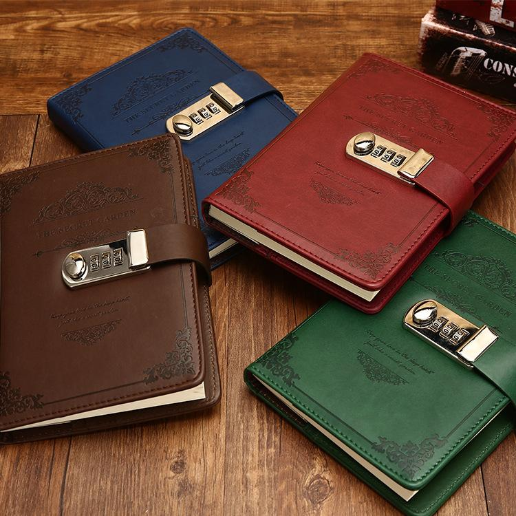 PU Stationery Notebook Retro Password Book With Lock Diary Thread Installed  Notepad Business Books School Office Supplies