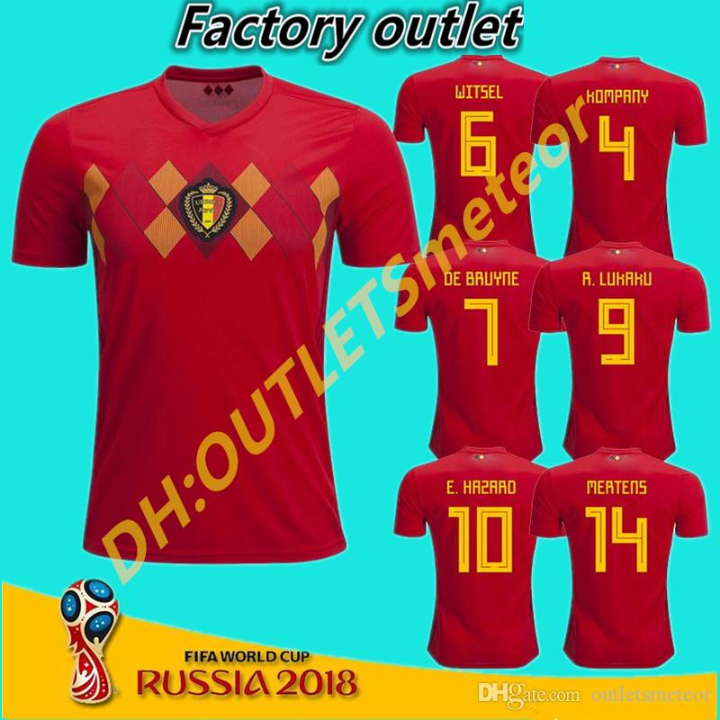 Belgium 2018 World Cup Home Red Top Thailand Quality LUKAKU FELLAINI  E.HAZARD KOMPANY DE BRUYNE Soccer Jersey 18 19 Belgium Football Shirt  KOMPANY DE BRUYNE ... 37342cfb3