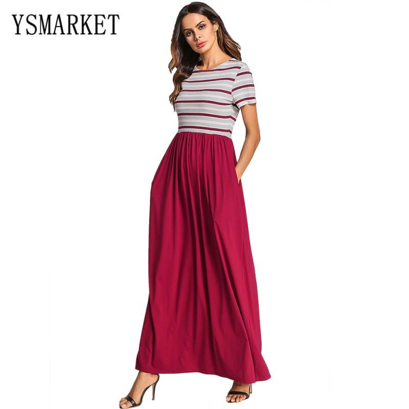 9bac17ae946 M-4XL Striped Stitching Solid Color Long Maxi Dress O Neck Short Sleeve Muslim  Gown Boho Style Large Size Womens Clothing E7088 Plus Size Clothing  European ...