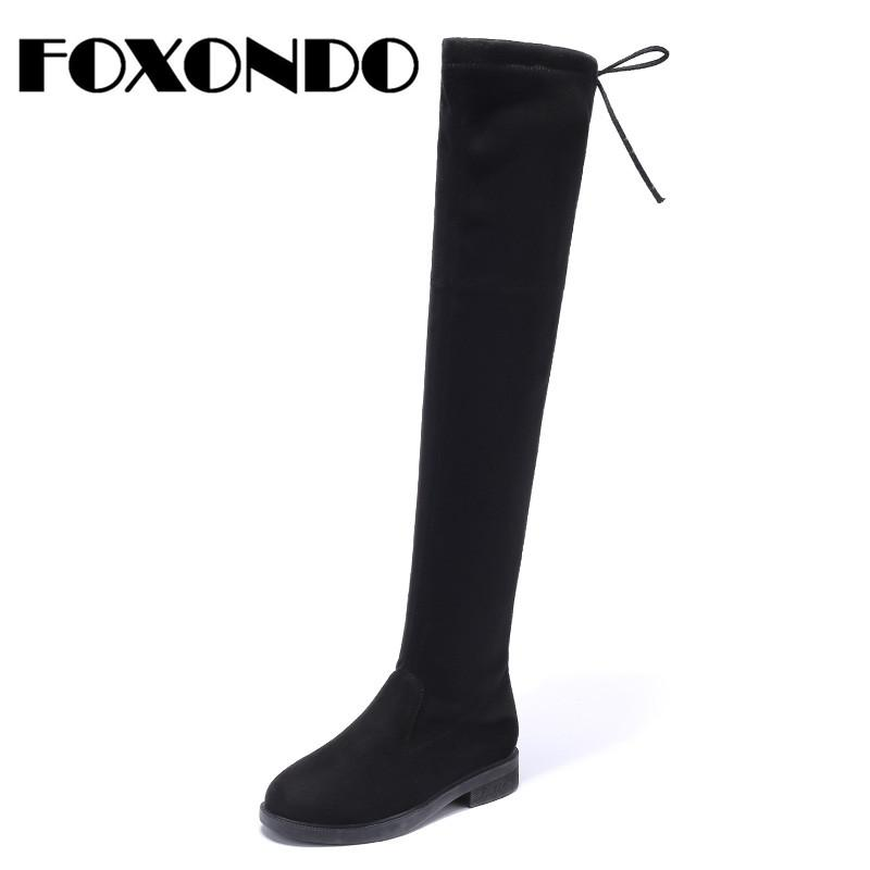 c5799293ec7 FOXONDO 2018 Winter Women Boots Women Faux Suede Plush Warm Boots Over The Knee  Lace Up Flat Heel Knee High Female Cheap Cowgirl Boots Mens Dress Boots From  ...