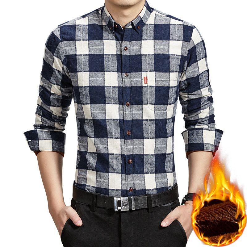 b1e0be5179a Thick Warm Shirt Men Plaid Shirts Mens Slim Fit Casual Autumn Winter Fleece  Cotton Long Sleeve Masculina Plus Size 4XL ES249 UK 2019 From Jerkin