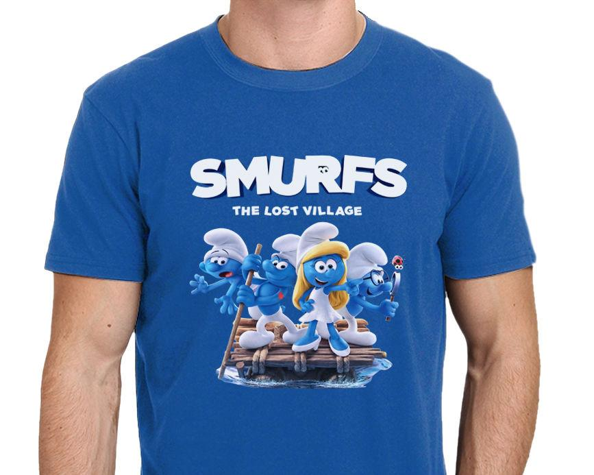 finest selection 6adeb 2d3d0 SMURFS The Lost Village The Movie T Shirt Size  S To XXL Mens T Shirt  Summer O Neck 100% Cotton Men Short Sleeve Tee Shirts Online T Shirt  Creator From ...