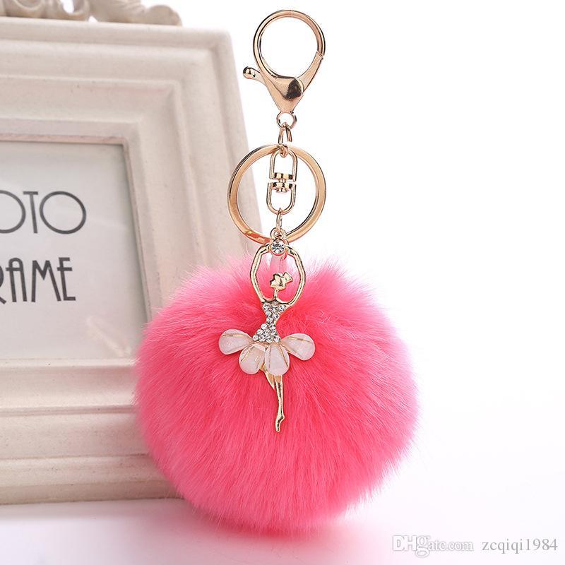 Narin Rex Tavşan Kürk Topu Ponpon Anahtarlıklar Dans BALE Kız Kadınlar Için anahtarlık Çanta Anahtarlık Mix renkler