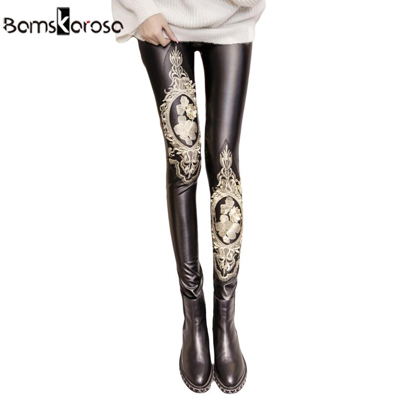 2535377001488d 2019 Faux Leather Leggings With Embroidery Decoration Women High Waist  Black Trousers Skinny Shiny Pencil Pants Female From Watchlove, $33.03 |  DHgate.Com