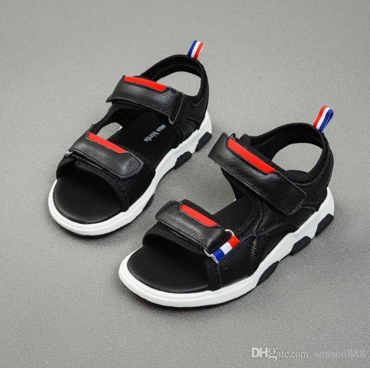 80681901db52 2018 Summer Beach Boy Sandals Kids Genuine Leather Shoes Fashion Sport  Sandal Children Sandals For Boys Leather Casual Shoes Kid Boy Shoes Boys  And Girls ...
