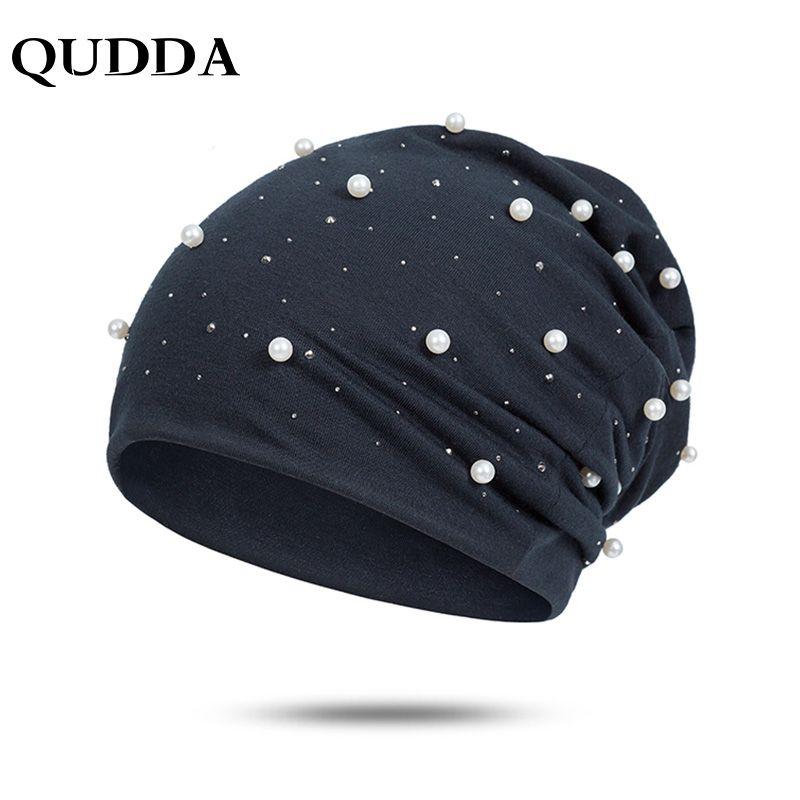 f9e94fd2a8041 QUDDA Elegant Winter Hat For Women Fashion Pearls Rhinestones Warm Women S  Hat Casual Solid Skullies Beanies For Ladies Baby Boy Hats Black Baseball  Cap ...