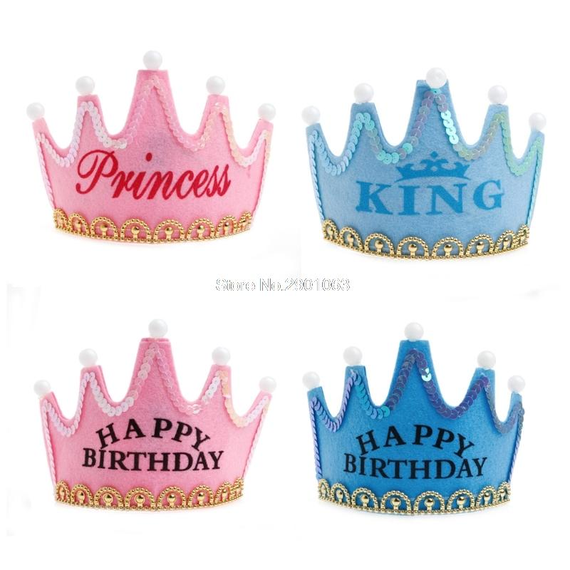 Tiara Pink Crown Light Up Luminous LED Blinking Flashing Birthday Party Hat King Pringcess Cap Headbands H062731 Cake