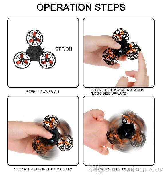 Flying Fidget Spinner Mini Rechargable Automatic Portable Finger Tip Spinner Anxiety Stress Novelty Toys Fingertip gyros Best Gift