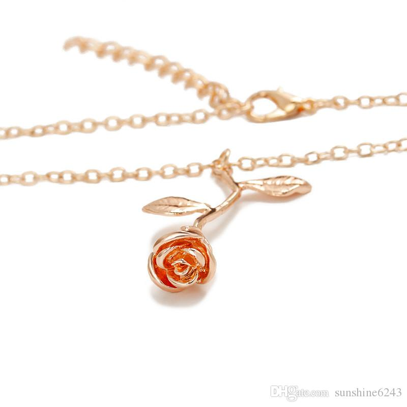 3 cores Rose Flor Colar para Mulheres Charme Maxi Gargantilha Boho Jóias Homens Moda Rose Colar