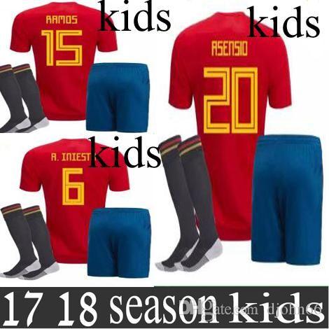 Kids Kits Camisetas De Futbol ASENSIO MORATA ESPANA Spain Soccer ... 3e5305c1c