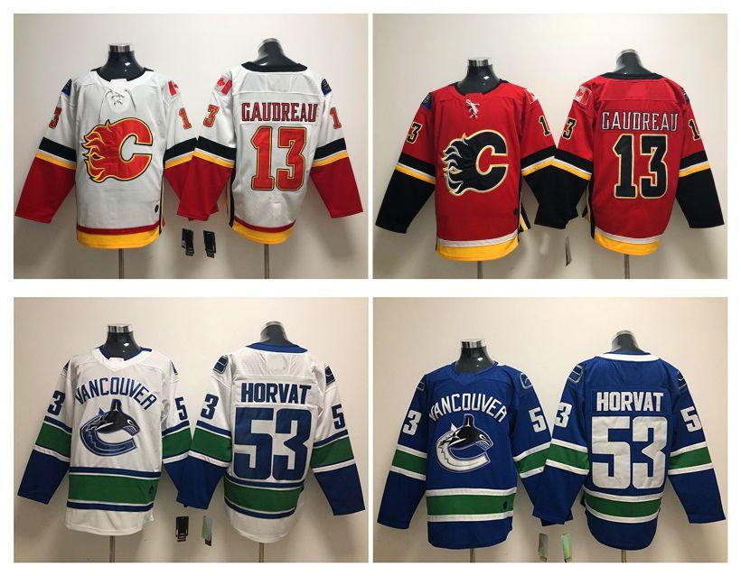 new product 7872d 539da Vancouver Canucks 53 Bo Horvat Jersey Calgary Flames 13 Johnny Gaudreau Red  White Hockey Jerseys