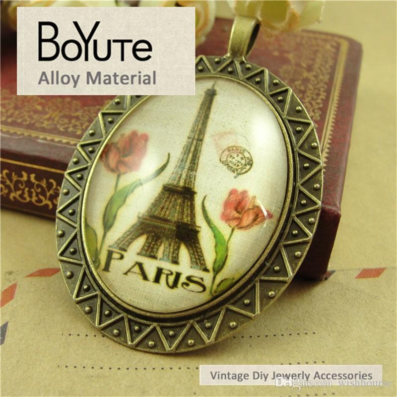 BoYuTe  40*30MM Cabochon Setting Oval Glass Cabochon Setting Pendant Blank Base Diy Bracelet Necklace Jewelry Accessories