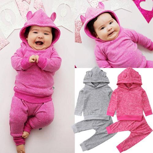 354e1780a 2019 2018 Cute Newborn Baby Boys Girls Ear Hooded Long Sleeve Tops ...