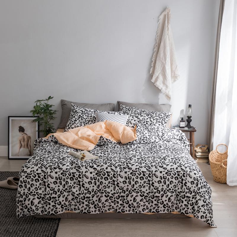 236c524cbd 2018 Bedding Set Black And White Leopard Print Bed Linens Fashion Bedsheet  Duvet Cover Fitted Sheet Pillowcases 100% Cotton Full Comforter Set Grey ...