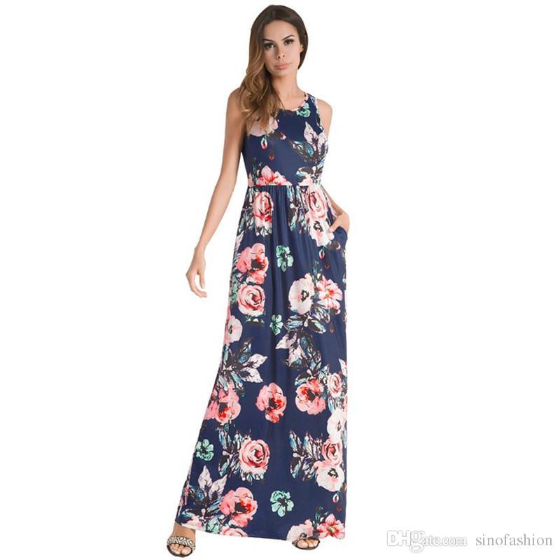 a6e059901 Compre Imprimir Vestidos Largos Verano Casual Impreso Chaleco Floral Maxi  Vestido Para Mujer Moda Sin Mangas Niñas Vintage Vestido De Tirantes  Plisado A ...