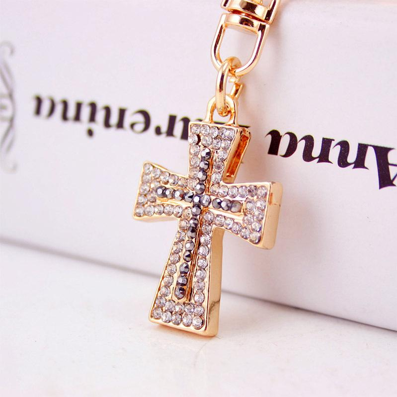 Blessed   Holy Cross Keychain Keyring Crystal Rhinestones Luxury Keychains  Car Key Chain Holder Womens Bag Purse Charm Pendant Gift Leather Key Chain  ... b35ebcaf85