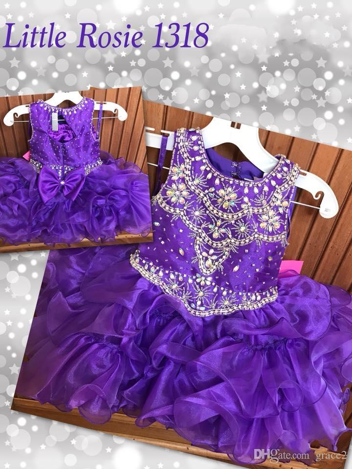 Toddler Glitz Pageant Dresses 2018 with Beaded Jewel Neck and Tutu Skirt Purple Girls Cupcake Pageant Dresses Custom Made