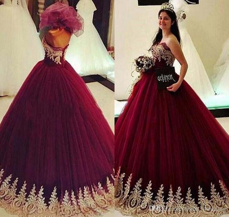 25f6e918594 2018 Burgundy Quinceanera Dress Princess Arabic Dubai Gold Appliques Sweet  16 Ages Long Girls Prom Party Pageant Gown Plus Size Custom Made Elegant ...